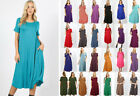 S-3X Short Sleeve Loose Midi T-Shirt Dress Soft Jersey Knit Casual Solids