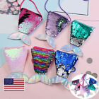 US Girls Lady Sparkling Dazzling Glitter Sequins Bag Kids Coin Purse Party Bags