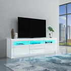 FREE RGB LED Light TV Stand Unit Cabinet High Gloss Sideboard 2 Doors 2 Drawers