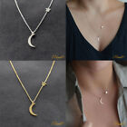 Moon And Star Silver Gold Necklace Chain Jewellery Pendant Girls Women Choker Uk