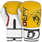 DEFY® BEGINNERS GEL Boxing Gloves Leather Punch Training Kickboxing MMA Yellow
