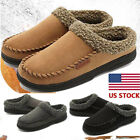 Men's Fur Lined Slippers Suede Moccasins Driving Loafers Slip On Cozy US Stock