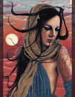 Fantasy Art PRINT Post-Apocalyptic Apocalypse Desert Sunset Portrait Warm Colors