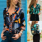 Women V Neck Shirts Geometric Floral Button Down Long Sleeve Blouses Tops 32