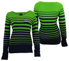 Forever Collectibles NFL Women's Seattle Seahawks Stripes Scoop Neck Sweater $34.99 USD on eBay