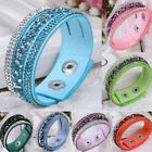 Fashion Crystal Rhinestone Faux Leather Bracelet Wristband Women Jewelry Strikin image
