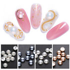 Pearl Concave Nail Rivets 3D Nail Art Decorations Champagne Matte  Tips