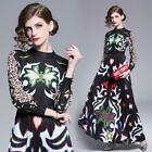 2019 Spring Summer Runway Floral Print Mock Neck Empire Waist Women Maxi Dress