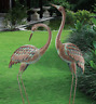 Coastal Heron Pair Yard Decor Garden Crane Statues Metal Sculptures Lawn Art New