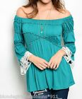 Teal Pirates Maiden Peasant 3/4 Sleeve On/Off Shoulder Blouse Top XS S