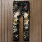 Men Embroider Gold Wings Jeans Denim Ripper Trousers Distressed Knee Hole Pants