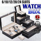 6/10/12/20/24 Slots Grids Leather Watch Display Case Jewelry Storage Box Winder image