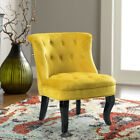 COLORFUL VELVET ARMLESS ACCENT CHAIR WITH BLACK BIRCH WOOD LEGS