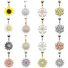 BodyJ4You Belly Button Ring Flower Paved Crystal 14G Navel Banana Body Piercing image