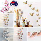 Gold/silver 3d Diy Wall Sticker Butterfly Home Room Decor Decorations 12pc Set C