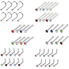 BodyJ4You Nose Ring L-Bend Stud Screw Fishtail 18G 20G CZ Steel Piercing Jewerly image