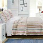 Внешний вид - Greenland Home Fashion Sunset Stripe Quilt & Pillow Sham Set Warm Colors