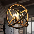 Retro Hemp Rope Globe Chandelier Industrial LED Multi-Light Pendant Ceiling Lamp