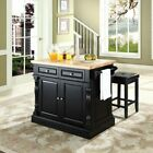 Crosley Butcher Block Top Kitchen Island with 24 in. Upholstered Square Seat