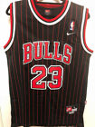 Michael Jordan #23 Pinstripe Black Chicago Bulls Throwback Mens Stitched Jersey