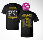 Shinedown Attention Attention Dates Tour 2019 T Shirt Black 2 Side.Size S-3XL. image