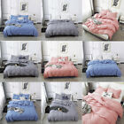 Bedding 3 Piece Bed Sheet Set Polyester Quilt Pillowcase Solid Comforter Set US image