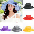 Summer Women Lace Wide Brim Kentucky Derby Sun Hat Wedding Tea Party Church Cap