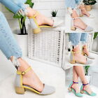 Women Low Heel Shoes Ladies Pointed Toe  Strappy Buckle Ankle Strap Sandals