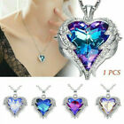 925 Silver Angel Wing Necklace Heart Rhinestone Crystal Chain Pendant Jewelry  image