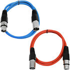 2 Pack of XLR Patch Cables 2 Feet Extension Cords Jumper 3 Pin - Various Colors
