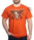 Harley-Davidson Mens Steam Skull Eagle Live Loud B&S Orange Short Sleeve T-Shirt image