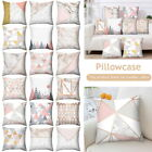 Pink Grey Gold Geometric Pillow Case Cover Marble Sofa Cushion Covers Home Decor