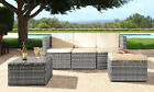 3pc Rattan Garden Patio Furniture Outdoor Set - Sofa, Footstool & Coffee Table