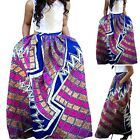 Womens African Floral Wax Print High Waist A Line Maxi Long Skirts with Pockets