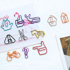10/12x Cartoon Shape Bookmark Metal Binder Paper Clips Clamp School Stationery