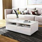 High Gloss Rectangle Coffee Table With 4 Storage Drawers Living Room Furniture