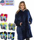 Soft Sweatshirt Hoodie Sherpa Fleece Blanket Large Pocket Reversible Seen On TV image