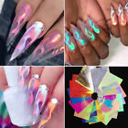 Holographic Fire Flame Nail Vinyls Stencil Hollow Stickers Nail Art Decals Tips