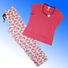 Avon Pyjama Set Coral Short Sleeve Long Bottoms 100% Cotton Size 16-18 UK