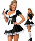 Halloween Satin French Maid Adult Uniform Fancy Dress Costume Hen Party OutfitUK