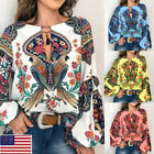 Women V-Neck Boho Floral Long Lantern Sleeve T Shirt Tops Oversize Blouse S-3XL