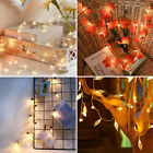 Led Pearl Leaf Garland Fairy String Lights Christmas Wedding Home Decoration Uk
