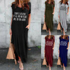 Women Latter Casual Loose Pocket Long Dress Short Sleeve Split Maxi Sundress XU