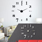 Modern 3D DIY Wall Clock Kit Large Mirror Surface Sticker Office Home Art Decor