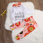 Newborn Baby Girls Hello World Top Rompers+Floral Pants Leggings Outfits Set
