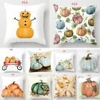 Halloween Pumpkin Square Linen Throw Cushion Pillow Cover Home Decor Case image
