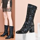 Womens Fashion Round Toe Flowers Printed Back Zipper Ankle Boots Block Mid C476