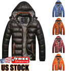 Mens Winter Warm Hooded Thick Padded Jacket Zipper Casual Parka Outwear Coat US
