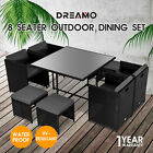 9pc Outdoor Dining Furniture Set Wicker Garden Table & Chairs