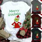Womens Christmas Donald Duck The Grinch Novelty T-Shirt Blouse Xmas Funny Dress